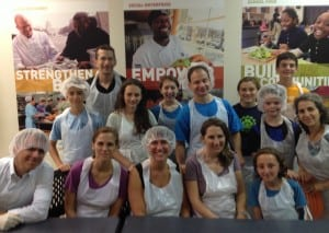 2014 B'Nei Mitzvah class students and parents volunteered at DC Central Kitchen on August 22, 2014.